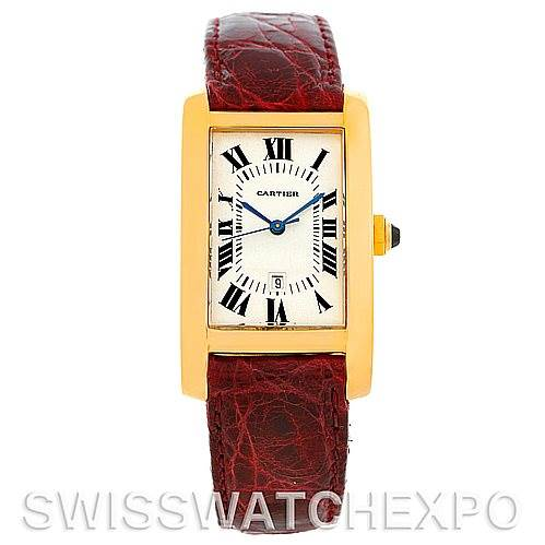 5435 Cartier Tank Americaine Mid Size 18K Yellow Gold Watch W2603556 SwissWatchExpo