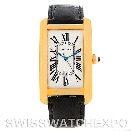 Cartier Tank Americaine 18K Yellow Gold Mens Watch W2603156 SwissWatchExpo