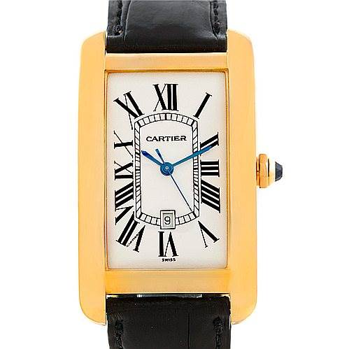 5860 Cartier Tank Americaine 18K Yellow Gold Mens Watch W2603156 SwissWatchExpo