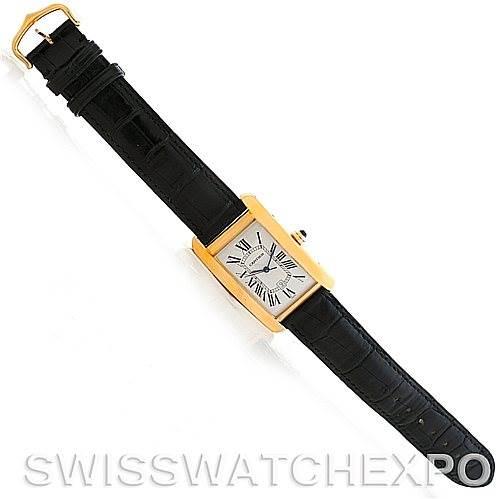 Cartier Tank Americaine 18K Yellow Gold Mens Watch W2603156 SwissWatchExpo