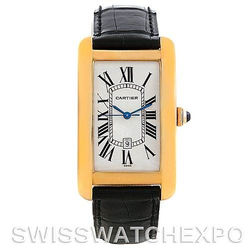 5939 Cartier Tank Americaine 18K Yellow Gold Mens Watch W2603156 SwissWatchExpo