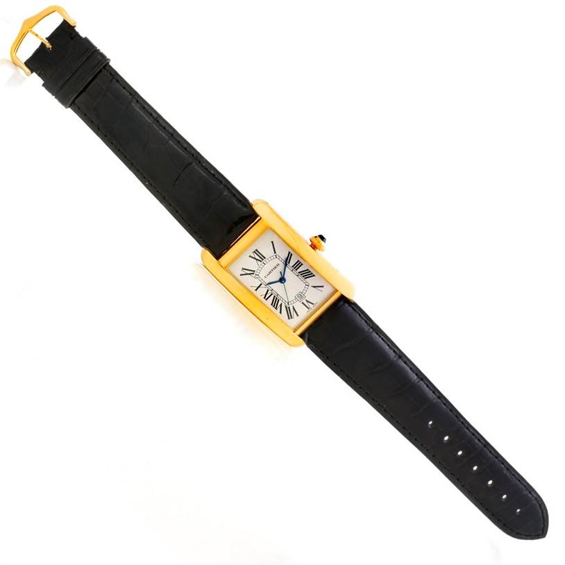 6053 Cartier Tank Americaine 18K Yellow Gold Mens Watch W2603156 SwissWatchExpo