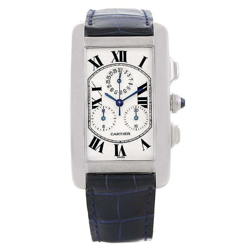 Cartier Tank Americaine Chronograph 18K White Gold Watch W2603358 SwissWatchExpo