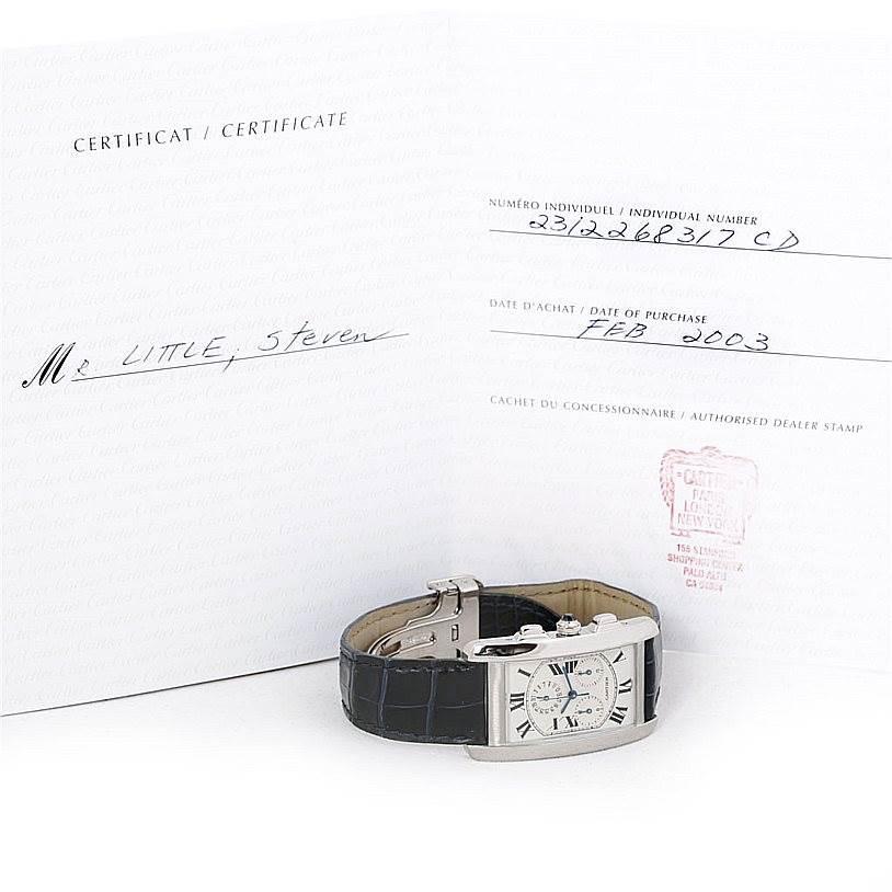 7019 Cartier Tank Americaine Chronograph 18K White Gold Watch W2603358 SwissWatchExpo