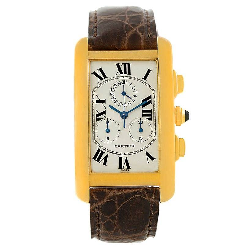 7495 Cartier Tank Americaine Chronograph 18K Yellow Gold Watch W2605856 SwissWatchExpo