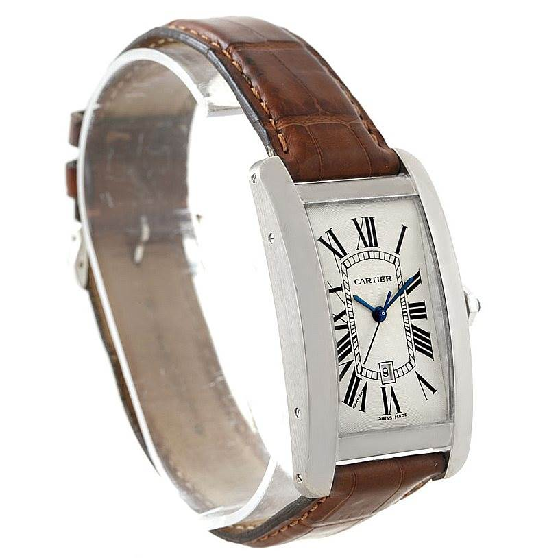 7788 Cartier Tank Americaine Large 18K White Gold Watch W2603256 SwissWatchExpo