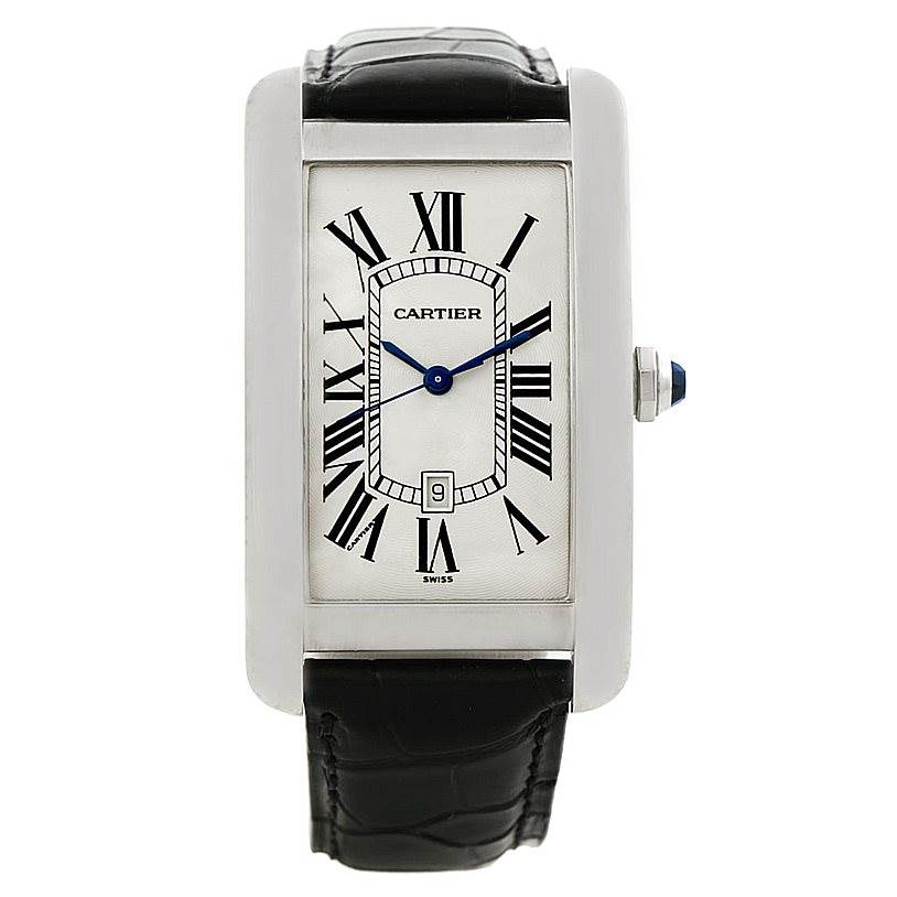 7907 Cartier Tank Americaine Large 18K White Gold Watch W2603256 SwissWatchExpo