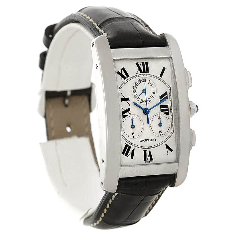 8153 Cartier Tank Americaine Chronograph 18K White Gold Watch W2603358 SwissWatchExpo