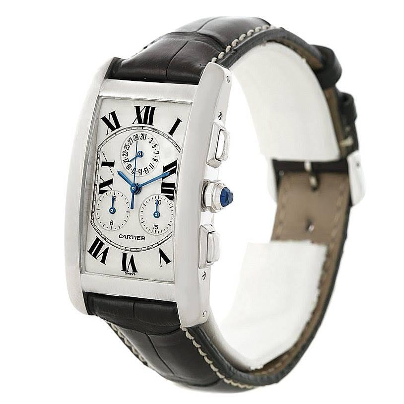 Cartier Tank Americaine Chronograph 18K White Gold Watch W2603358 SwissWatchExpo