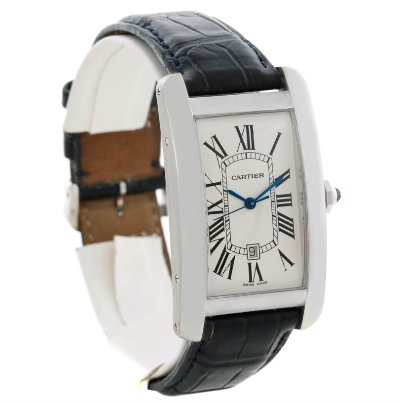 Cartier Tank Americaine Large 18K White Gold Watch W2603256 SwissWatchExpo