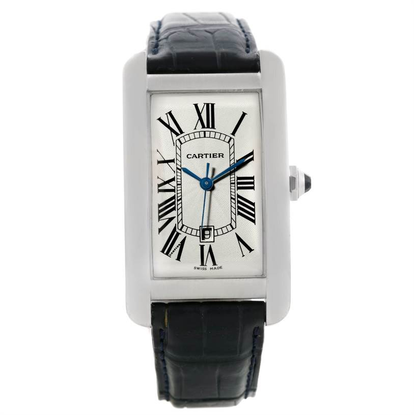 9111 Cartier Tank Americaine Large 18K White Gold Watch W2603256 SwissWatchExpo