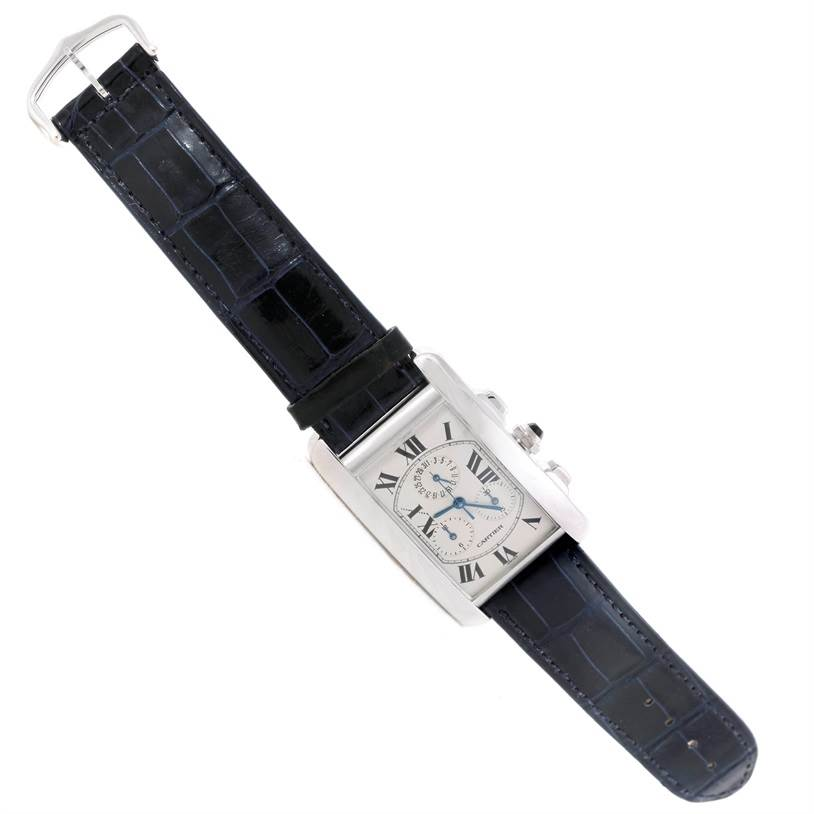 9143 Cartier Tank Americaine Chronograph 18K White Gold Watch W2603356 SwissWatchExpo