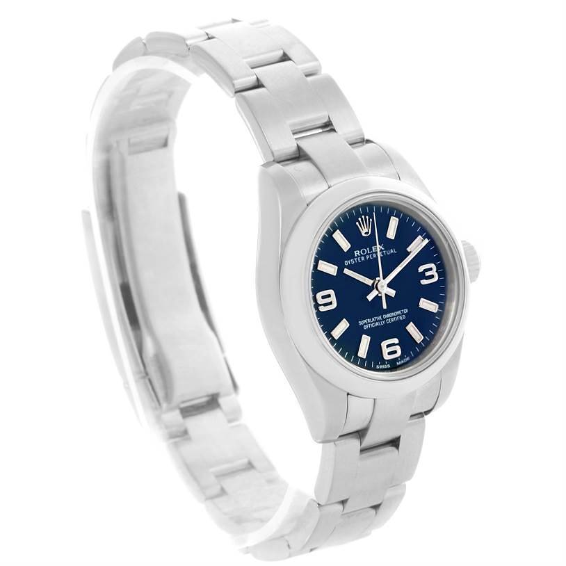Rolex Nondate Ladies Blue Dial Oyster Bracelet Watch 176200 SwissWatchExpo