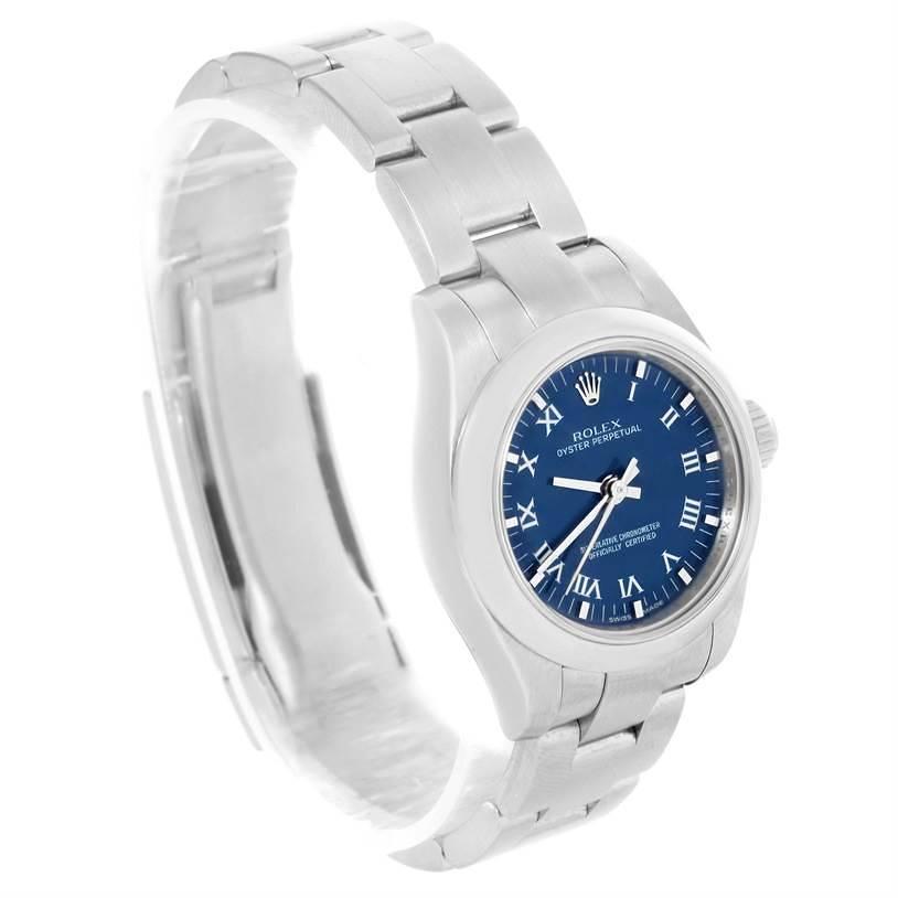 Rolex Nondate Ladies Blue Roman Dial Stainless Steel Watch 176200 SwissWatchExpo