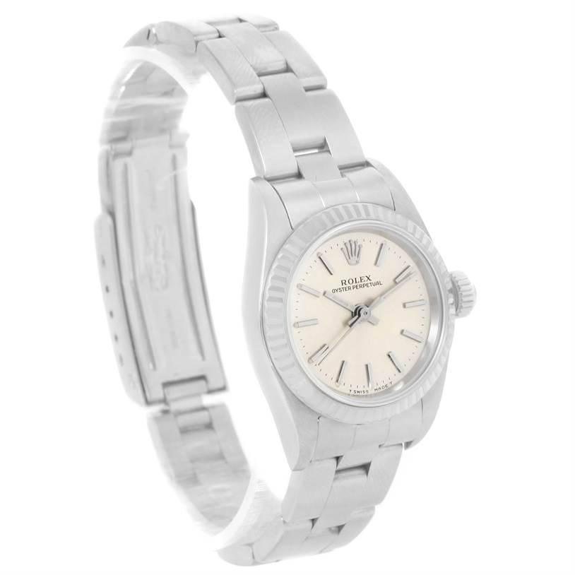 Rolex NonDate Ladies Steel 18k White Gold Silver Dial Watch 67194 SwissWatchExpo