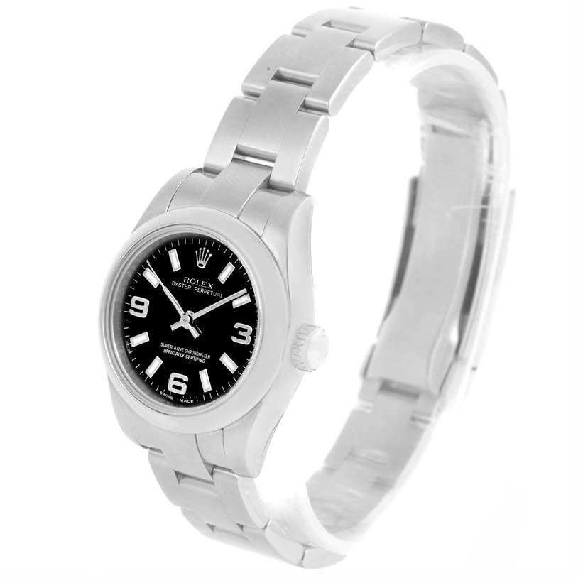 Rolex Nondate Ladies Black Dial Oyster Bracelet Watch 176200 SwissWatchExpo