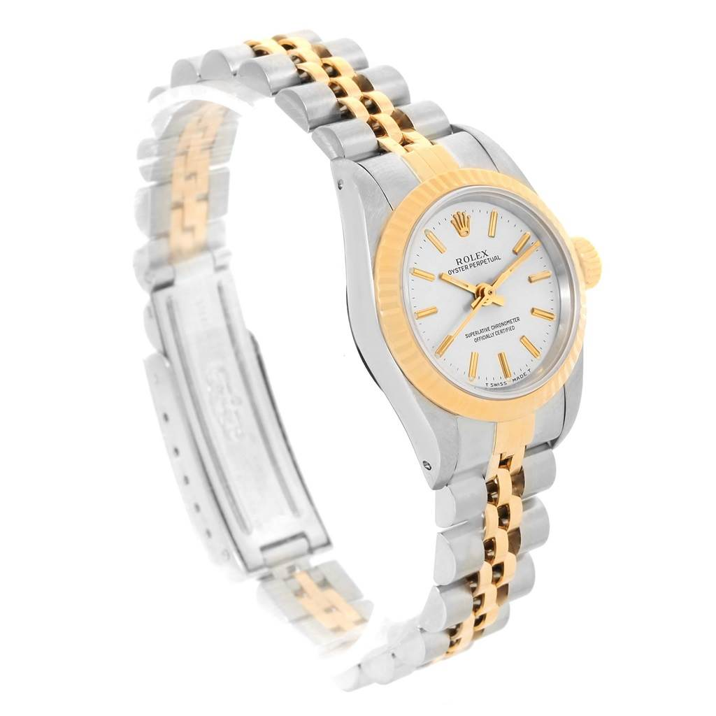 13333 Rolex NonDate Steel 18k Yellow Gold Silver Dial Ladies Watch 67193 SwissWatchExpo