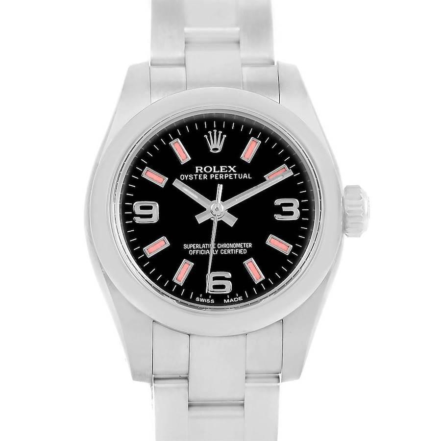 Rolex Nondate Black Dial Pink Hour Markers Ladies Watch 176200 SwissWatchExpo