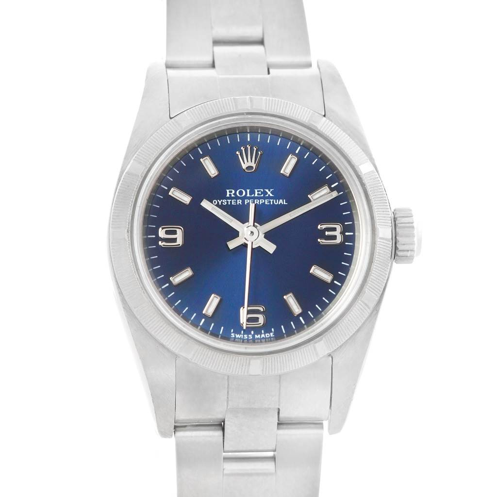 5573A Rolex Oyster Perpetual Blue Dial Steel Ladies Watch 76030 Box Papers SwissWatchExpo