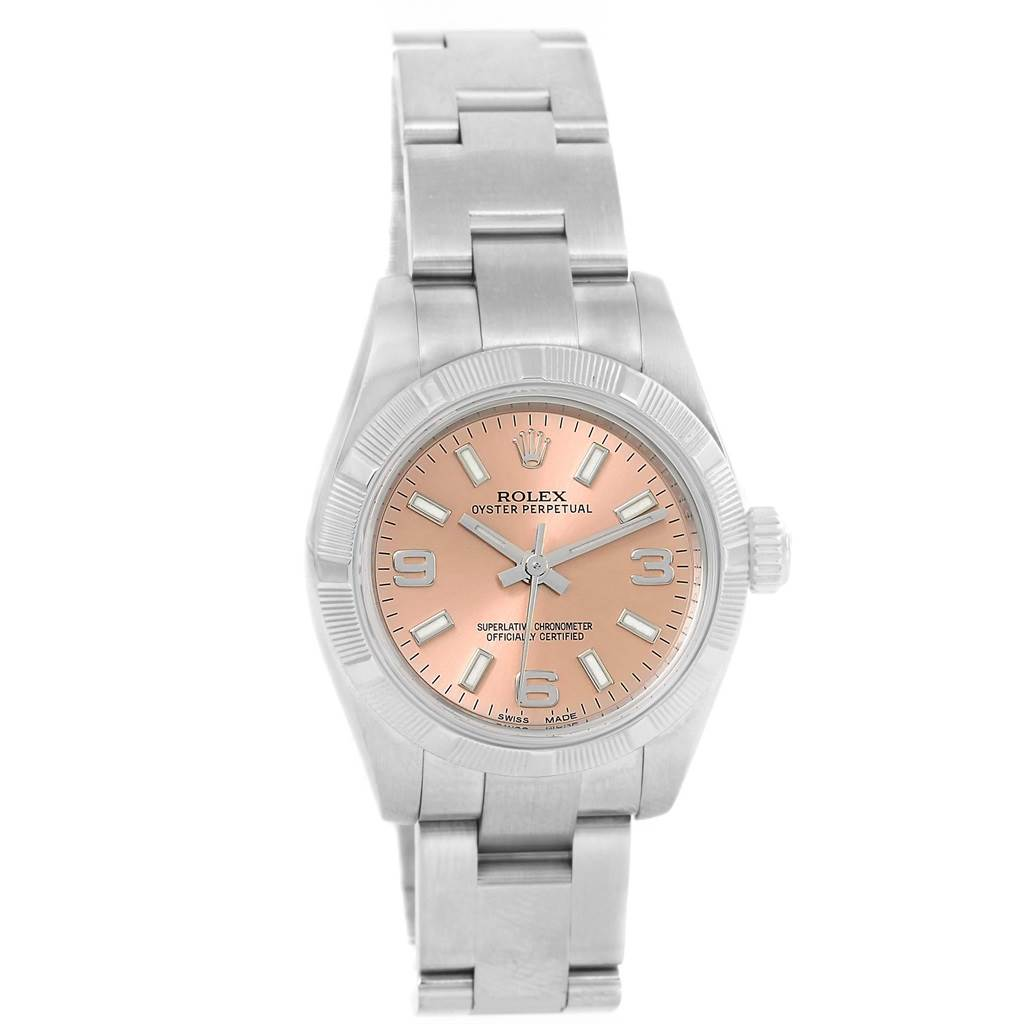 Rolex Nondate Ladies Salmon Dial Oyster Bracelet Watch 176210 SwissWatchExpo