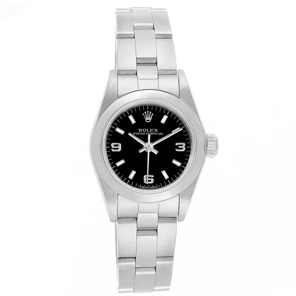 15341 Rolex Oyster Perpetual Black Dial Steel Ladies Watch 67180 Box Papers SwissWatchExpo