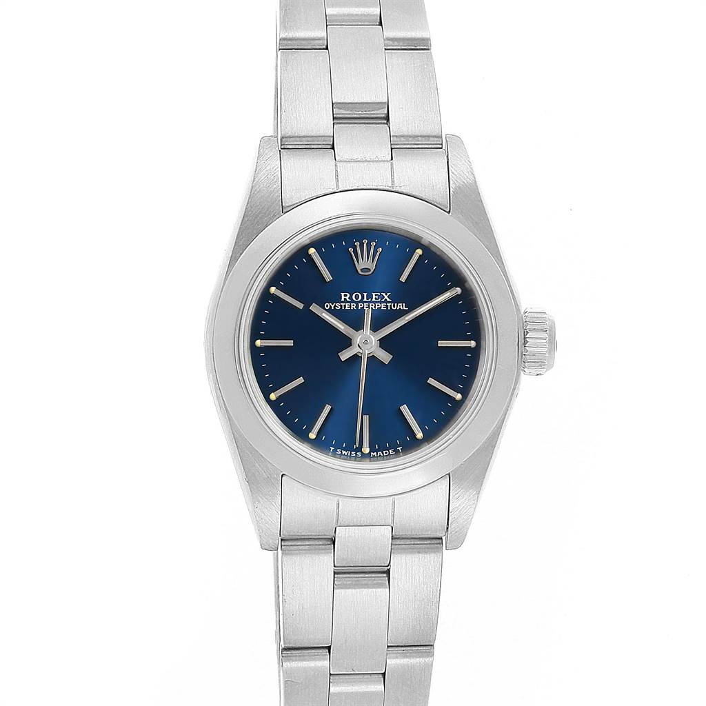 12175 Rolex Oyster Perpetual Blue Dial Steel Ladies Watch 67180 SwissWatchExpo