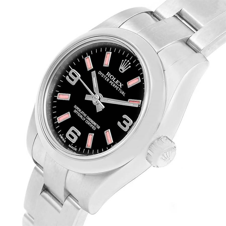Rolex Nondate Black Dial Pink Hour Markers Ladies Watch 176200 SwissWatchExpo