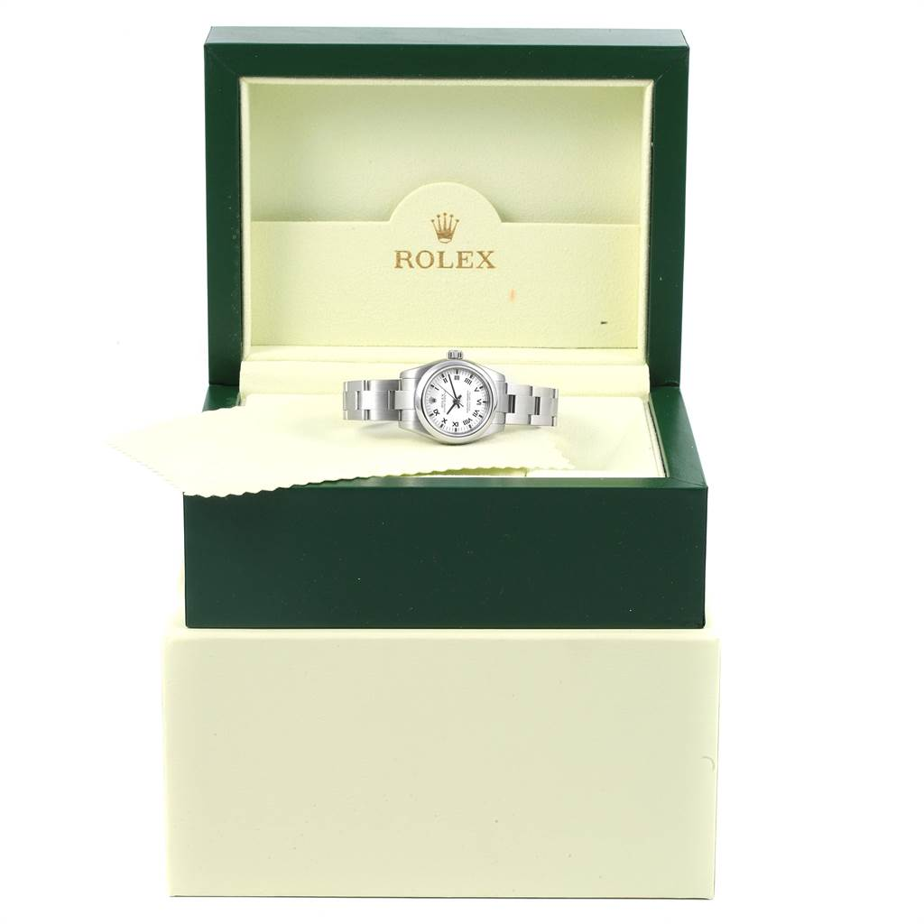 13939 Rolex Oyster Perpetual Nondate White Dial Steel Ladies Watch 176200 SwissWatchExpo