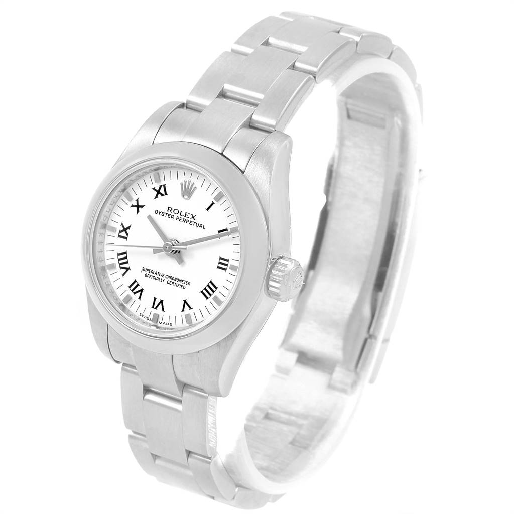 Rolex Oyster Perpetual Nondate White Dial Steel Ladies Watch 176200 SwissWatchExpo