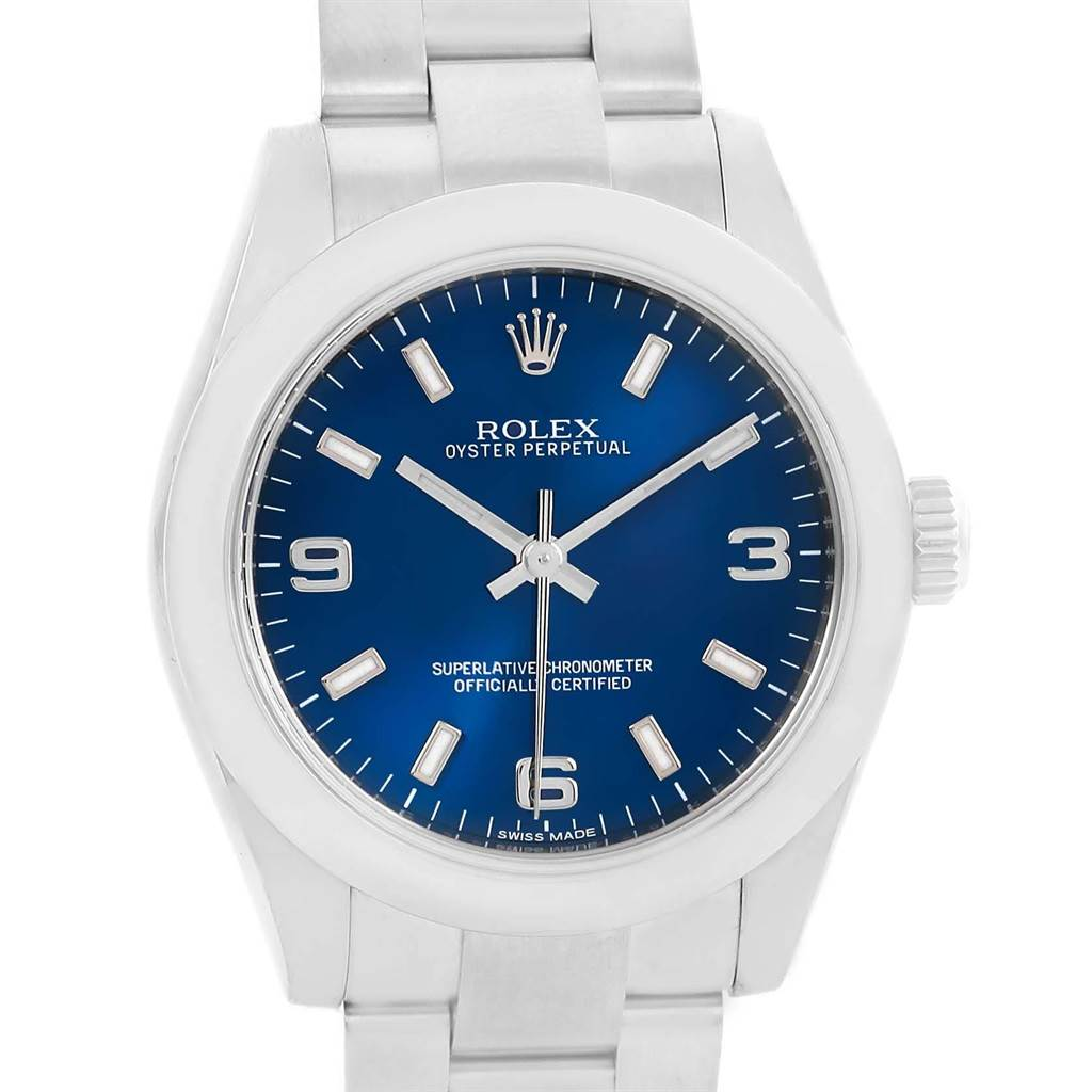17909 Rolex Oyster Perpetual Nondate Blue Dial Ladies Watch 176200  SwissWatchExpo