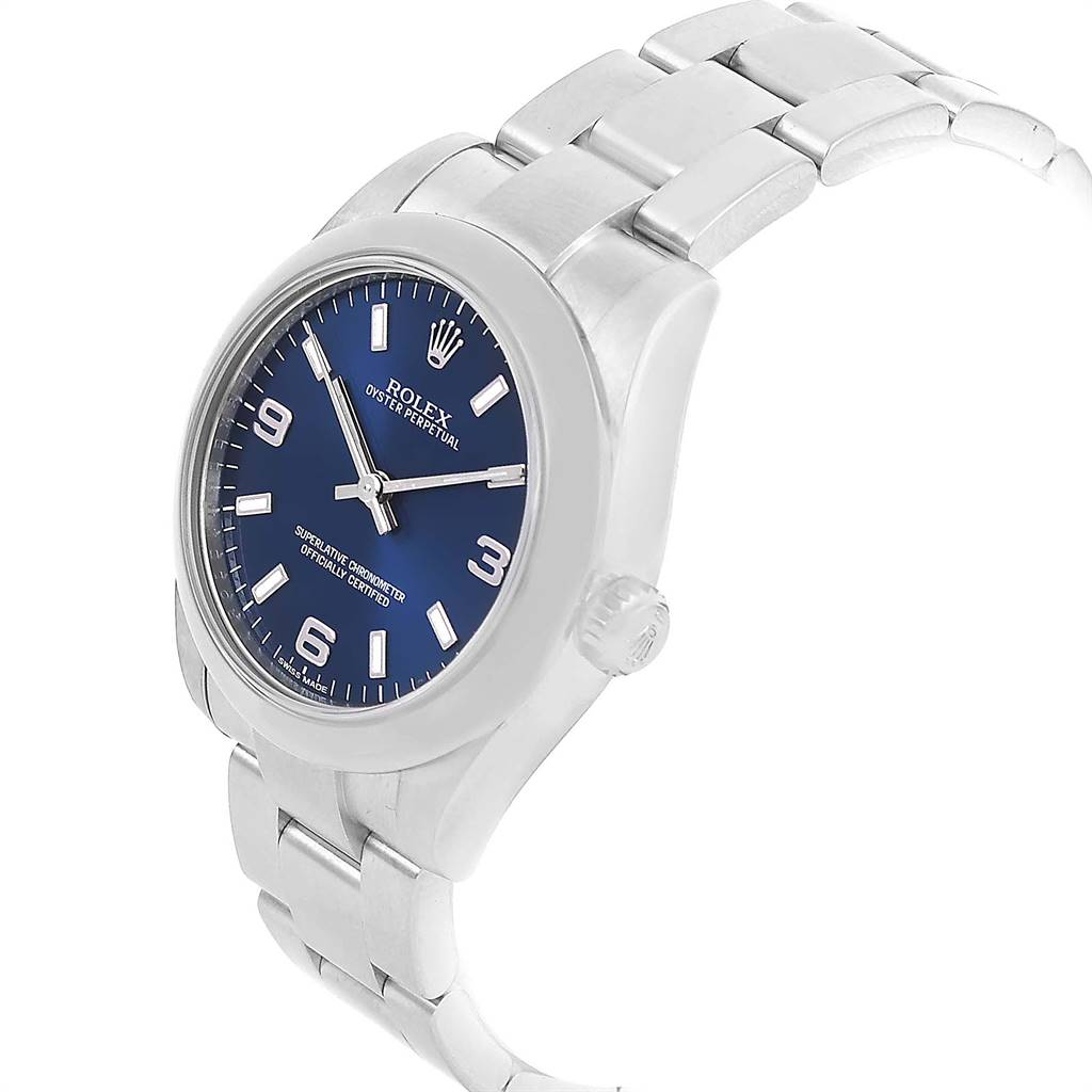 Rolex Oyster Perpetual Nondate Blue Dial Ladies Watch 176200 SwissWatchExpo