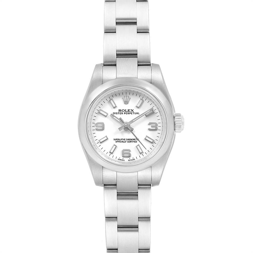 19064 Rolex Oyster Perpetual Nondate White Dial Ladies Watch 176200 SwissWatchExpo