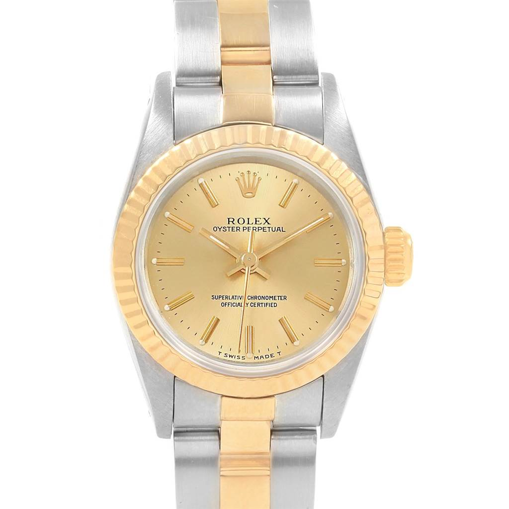 20168 Rolex Oyster Perpetual NonDate Steel Yellow Gold Ladies Watch 67193 SwissWatchExpo
