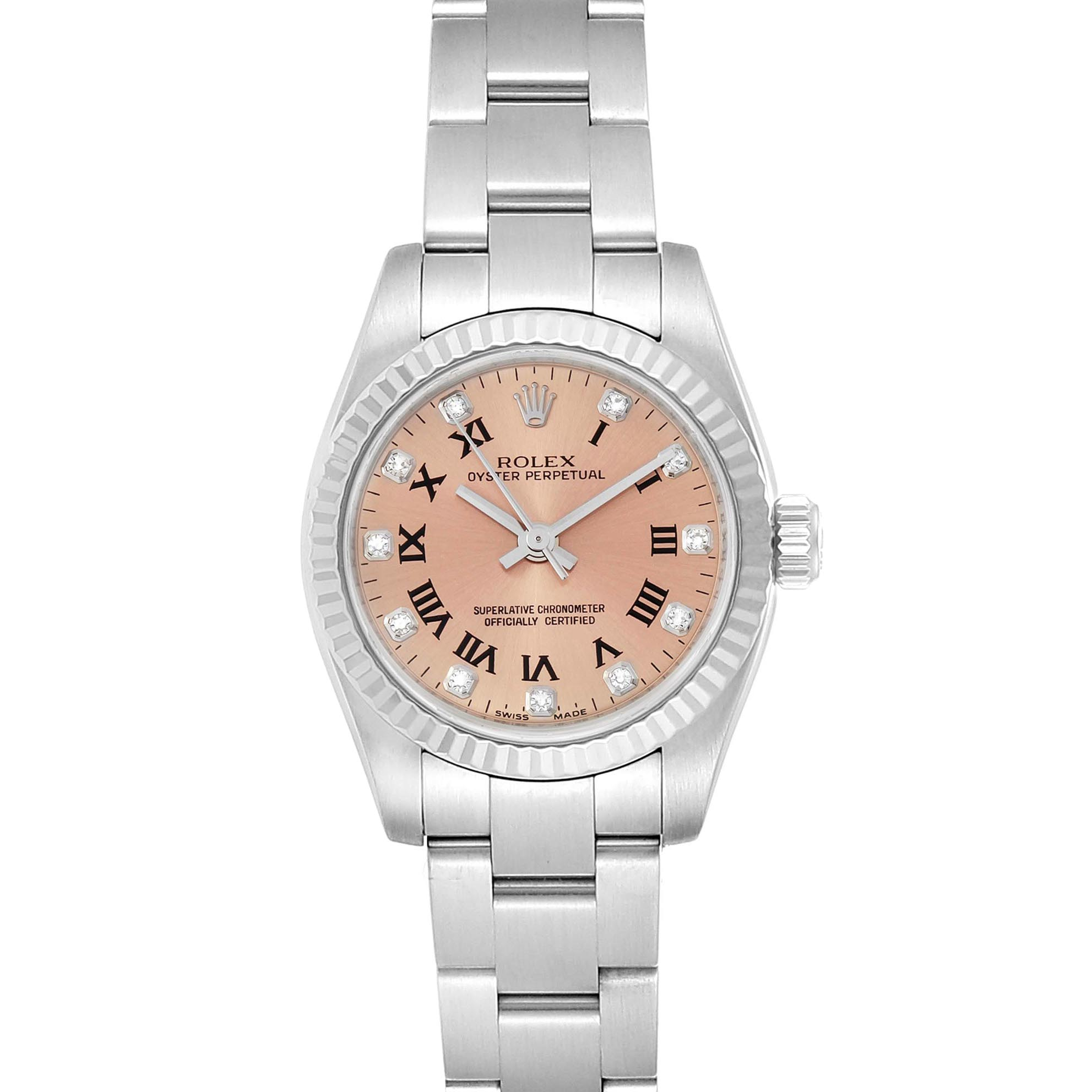 Rolex Oyster Perpetual 26 Steel White Gold Diamond Ladies Watch 176234