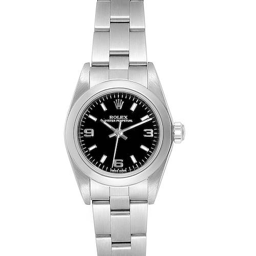 Photo of Rolex Oyster Perpetual Black Dial Oyster Bracelet Ladies Watch 76080