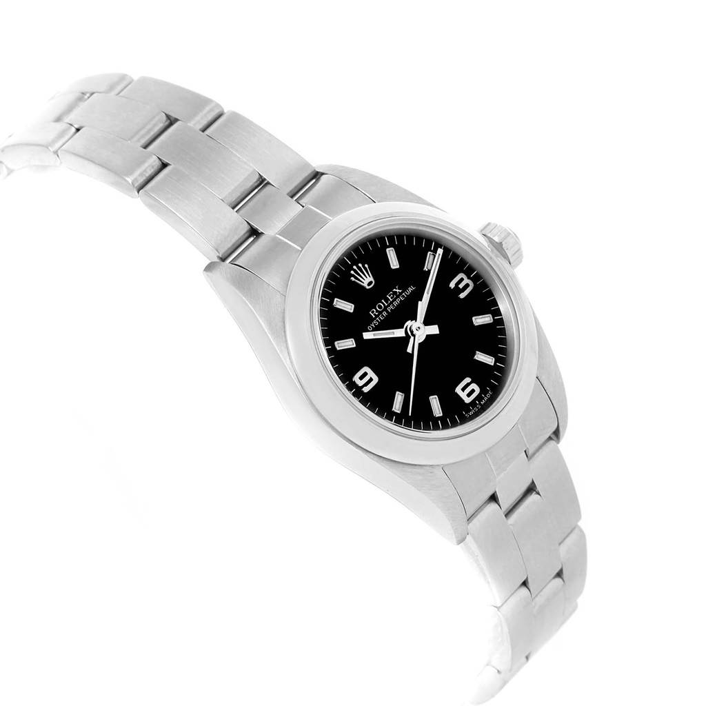 Rolex Oyster Perpetual Black Dial Oyster Bracelet Ladies Watch 76080 SwissWatchExpo