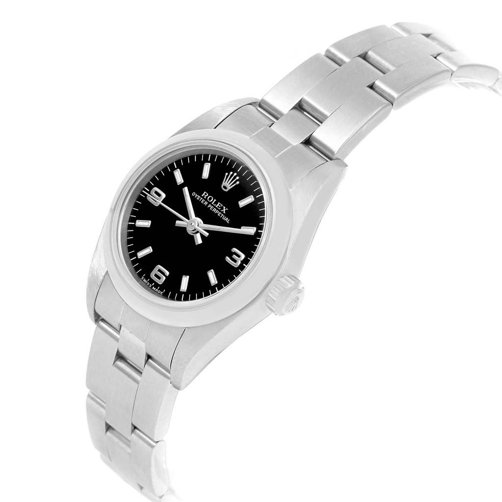 20778 Rolex Oyster Perpetual Black Dial Oyster Bracelet Ladies Watch 76080 SwissWatchExpo