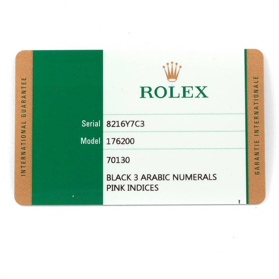 Rolex Nondate Black Dial Pink Hour Markers Ladies Watch 176200 Box Card SwissWatchExpo
