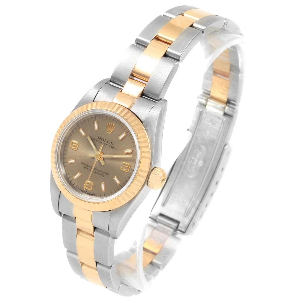 20692 Rolex Oyster Perpetual NonDate Ladies Steel Yellow Gold Watch 76193 SwissWatchExpo