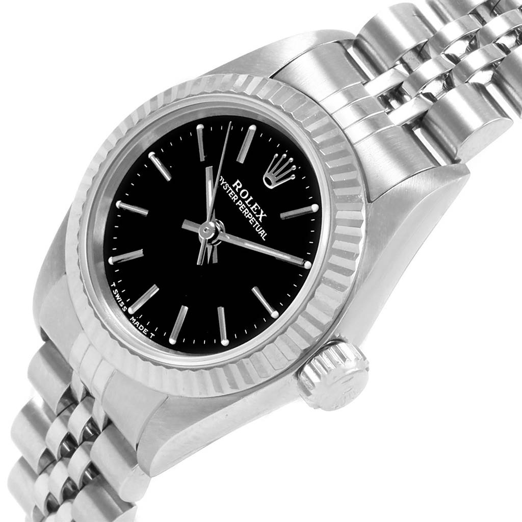 21283 Rolex Non-Date Steel 18k White Gold Black Dial Ladies Watch 67194 SwissWatchExpo