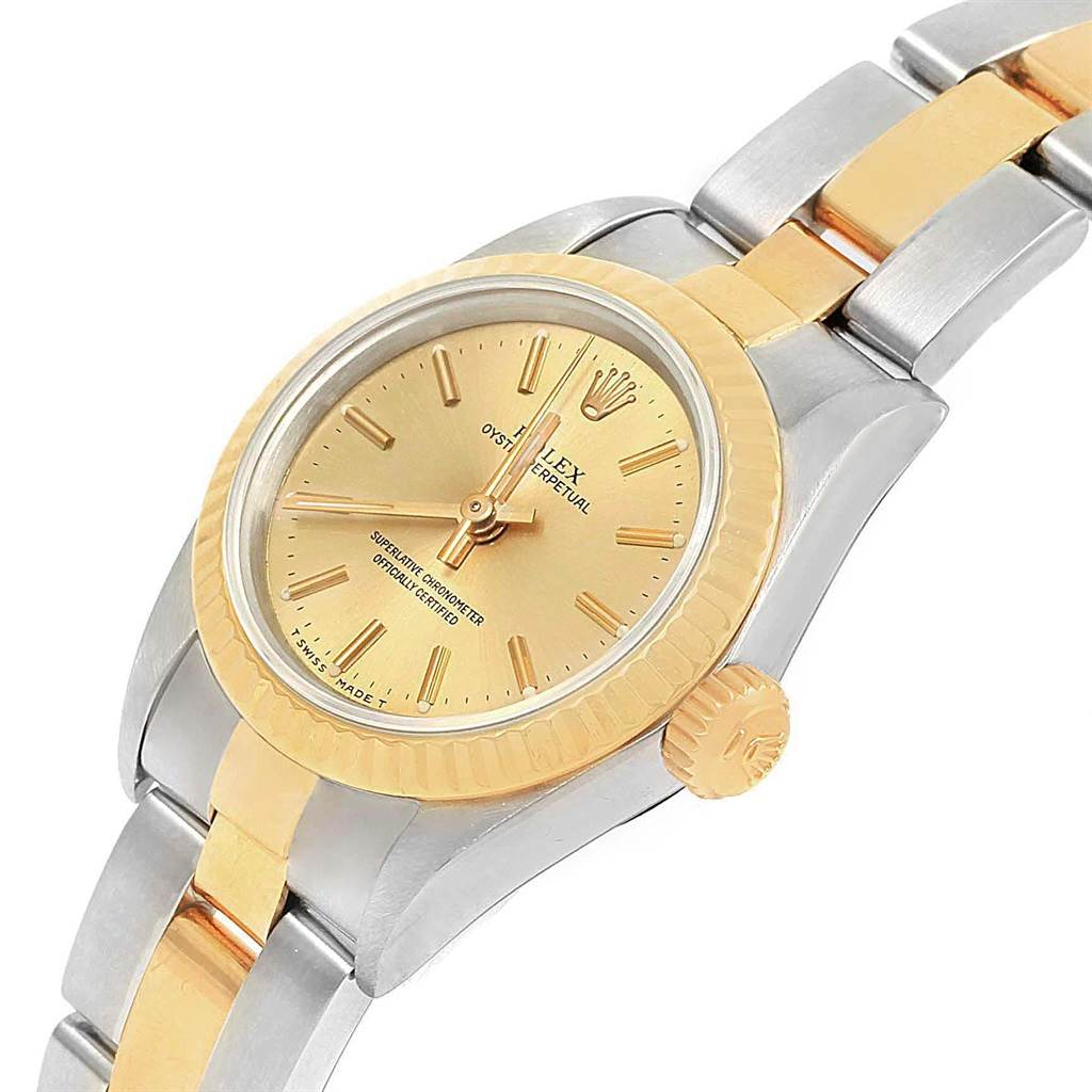 21118 Rolex Oyster Perpetual NonDate Steel Yellow Gold Ladies Watch 67193 SwissWatchExpo