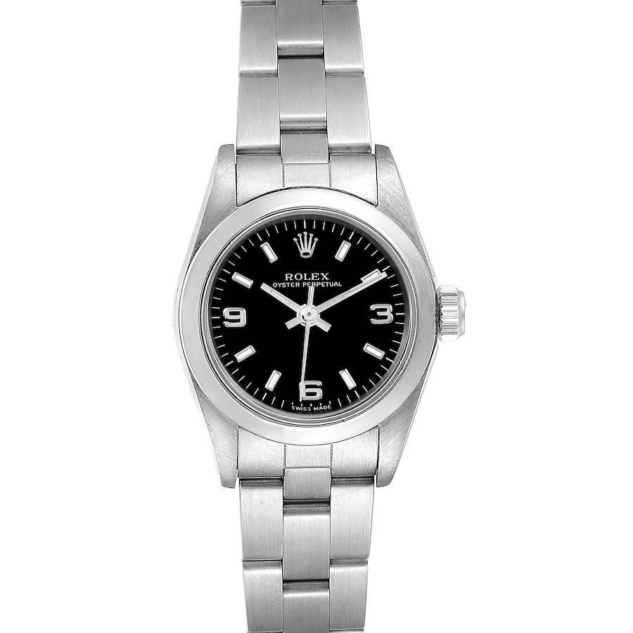 Rolex Non-Date Black Dial Oyster Bracelet Ladies Watch 76080 SwissWatchExpo