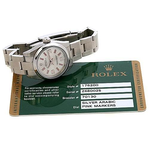2470 Rolex Oyster Perpetual Ladies Ss Watch 176200 Year 2008 SwissWatchExpo