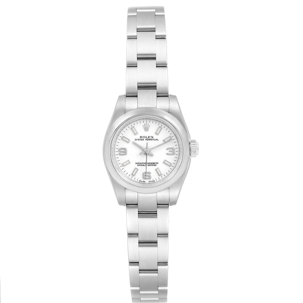 Rolex Oyster Perpetual Nondate White Dial Ladies Watch 176200 SwissWatchExpo