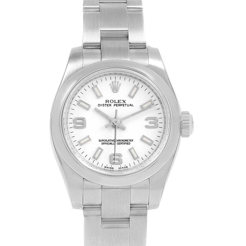 21563 Rolex Oyster Perpetual Nondate White Dial Ladies Watch 176200 SwissWatchExpo
