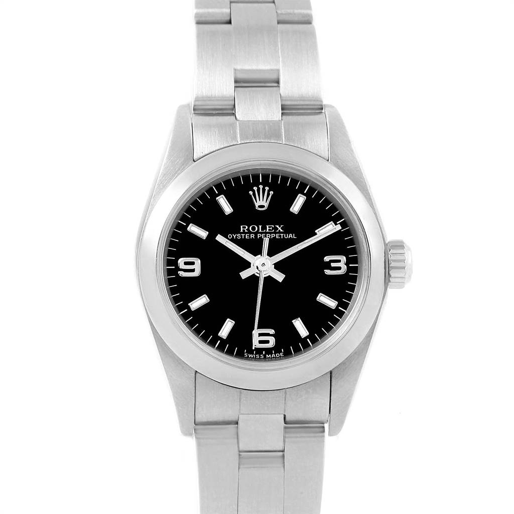 21745 Rolex Oyster Perpetual Nondate Black Dial Ladies Watch 76080 Box  SwissWatchExpo