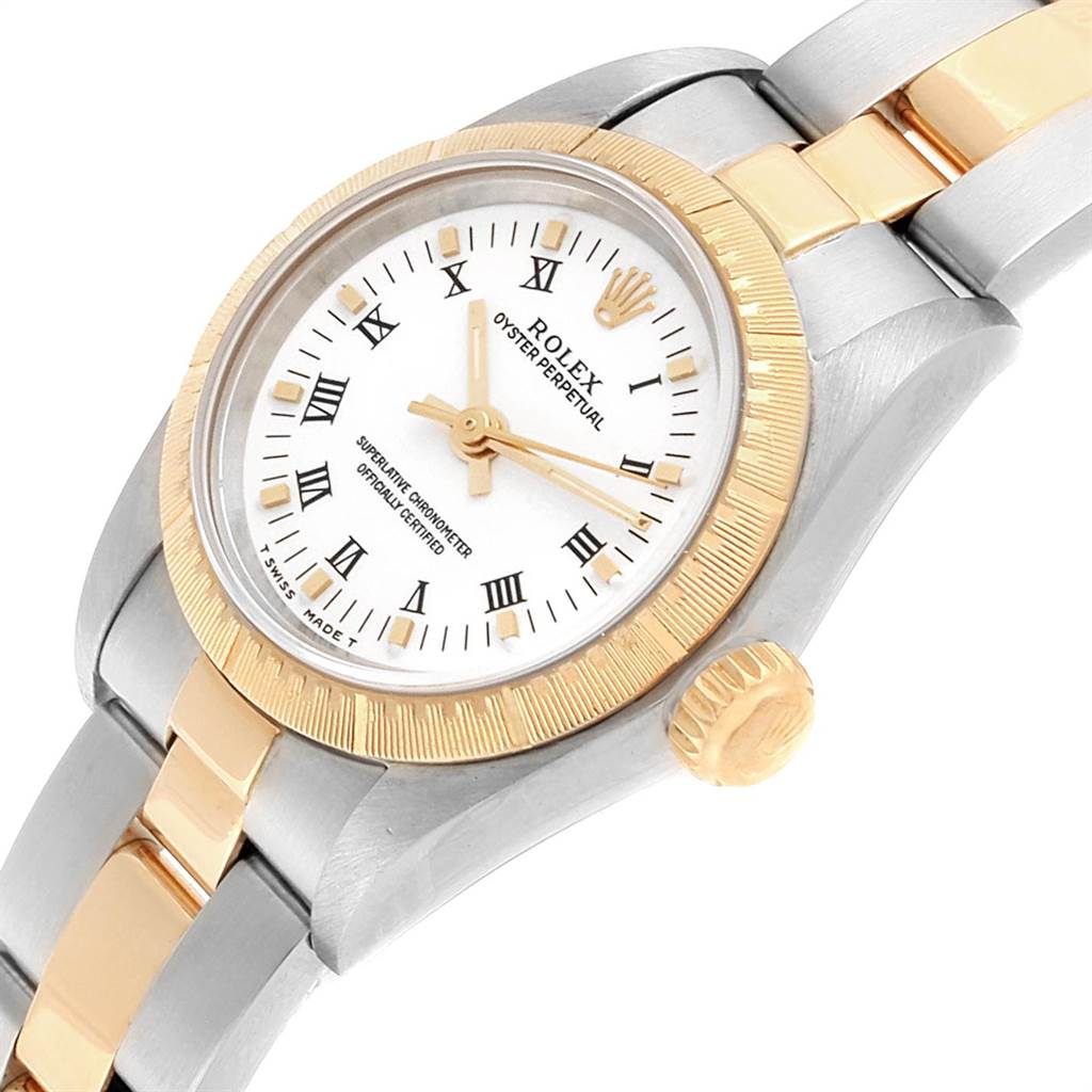 21014 Rolex Oyster Perpetual NonDate Ladies Steel Yellow Gold Watch 67243 SwissWatchExpo