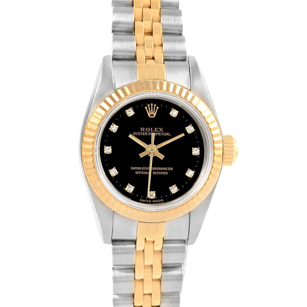 22110 Rolex Oyster Perpetual Steel Yellow Gold Diamond Ladies Watch 67193 SwissWatchExpo