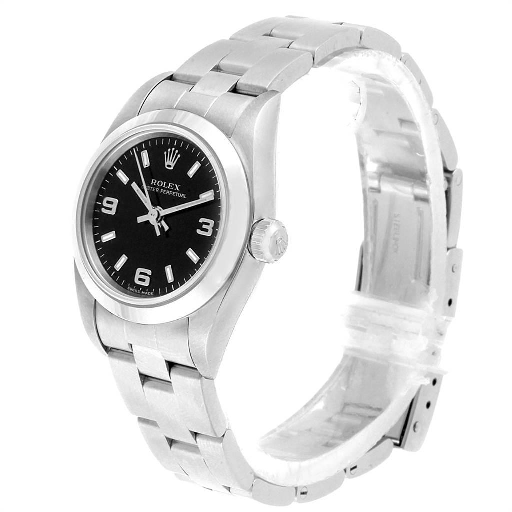 22144 Rolex Non-Date Black Dial Automatic Steel Ladies Watch 76080 SwissWatchExpo