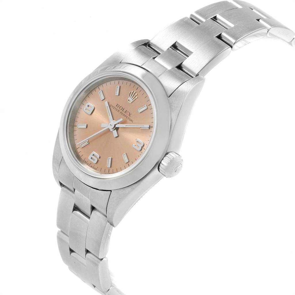 22372 Rolex Oyster Perpetual 24mm Nondate Salmon Dial Ladies Watch 76080 SwissWatchExpo